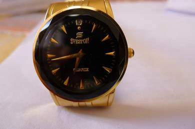 Sveston Quartz Round Black Dial Watch