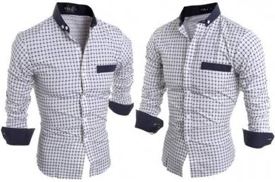 P3928 Urban Black Plaid Formal Long Sleeve Shirt R