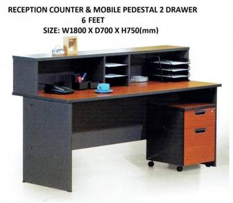 6 Feet Office Reception Counter + 2 Drawer Set