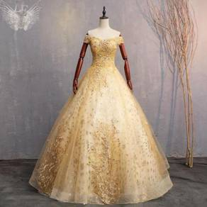 Gold prom wedding bridal dress gown RB1022