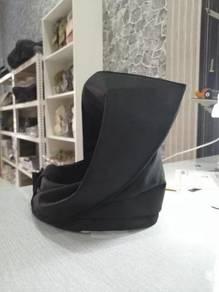Tengkolok plain hitam material cotton/songket