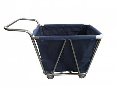 Stainless steel linen services trolley cw handle