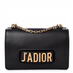 DIOR Calfskin J'Adior Chain Flap Bag Black