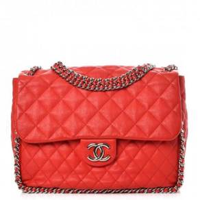 CHANEL Washed Lambskin Quilted Maxi Chain Around