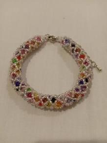 Handmade Silver Line Colourful Bracelet