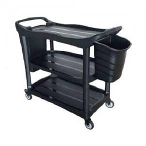 Black 3 Tier Utilities Trolley with Bucket (Heavy