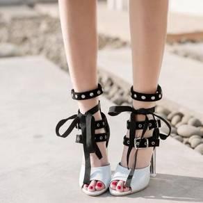 Black white peep toe heels party RBH0261