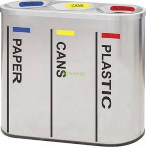 Recycle Bin Stainless Steel 3 in 1 Recycle-317/SS