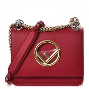 FENDI Calfskin Small Kan I Logo Shoulder Bag Red
