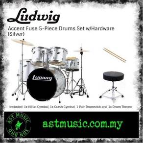 Ludwig Accent Fuse Drumset With Cymbals - Silver