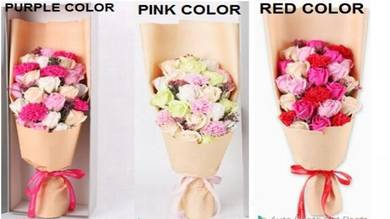 19Pcs Rose Soap+ 5Pcs Carnation Soap Flower