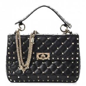 VALENTINO Lambskin Medium Rockstud Spike Flap Bag