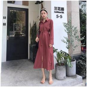 Long sleeve vintage retro red office OL dress