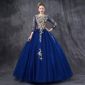 Long Sleeve blue Wedding Ball Prom Dress Gown RBMW