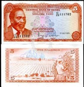 Kenya banknote 5 shillings 1978 unc