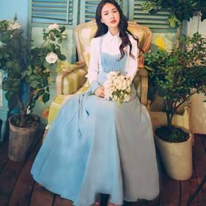 Blue white vintage long sleeve maxi dress elegant
