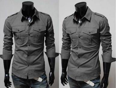 P0555 Grey Epaulet Two Pocket Long Sleeve Shirts