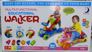 BABY STAND WALKER n CAR 2-IN-1 WITH MUSIC AND TOYS