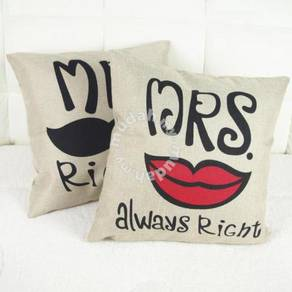 1Pair Mr&Mrs Right Cushion pillow case chair sofa