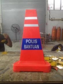 Triangular sandbase traffic cone POLIS BANTUAN