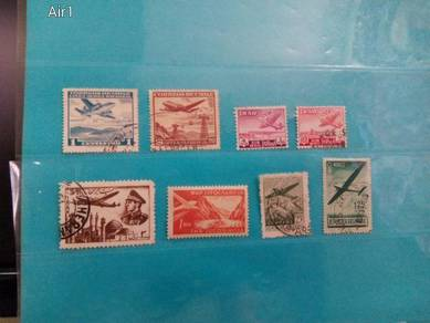 Set of 8 aircraft, air mail stamps, 1940/60