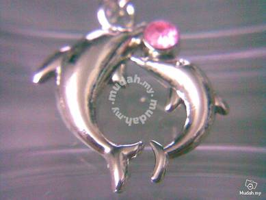 ABPSS-D013 Stainless Mixed Alloy Pink CZ Dolphins