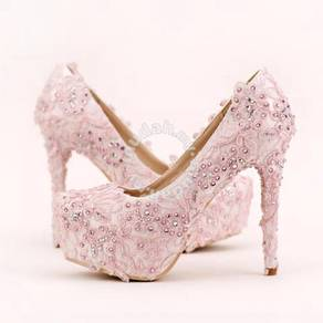 Lace white pink pump wedding bridal high heels