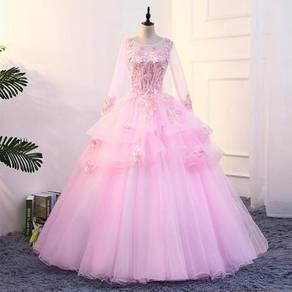 Long Sleeve pink Wedding Ball Prom Dress RBMWD0180