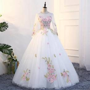 Long Sleeve white Wedding Bridal Ball Prom Dress