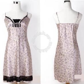 L1351-4 Beige Satin Lace Trim Chemise Sleepwear