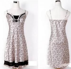 L1351-2 Pink Satin Lace Trim Chemise Sleepwear