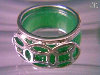 ABRSJ-G001 Green Jade Mosaic Silver Metal Ring 8.5