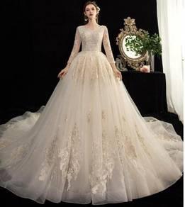Cream long sleeve wedding bridal dress gown RB1528