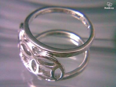 ABRSM-H001 H_style Silver Metal Ring Sz 9 - 9mm