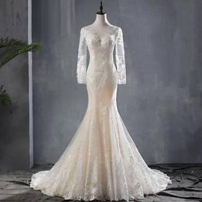 Cream long sleeve wedding bridal dress gown RB1526