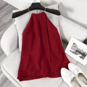 Red halter neck backless sexy party top