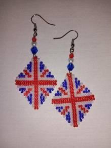 Handmade Diamond Shape Beaded British Earrings