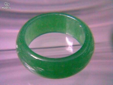 ABRJ-G001 Green Jade Ring - Size 7 - 5mm width