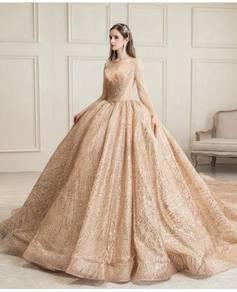 Cream long sleeve wedding bridal dress gown RB1529