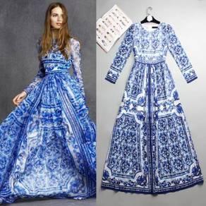Blue Boho long sleeve Muslimah Wedding Gown Dress