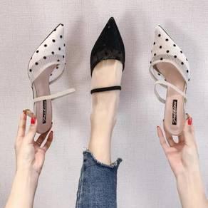 8067 Florence Polka Dot Mid Heel Shoes