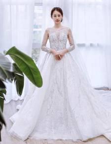 White long sleeve wedding bridal dress gown RB1527