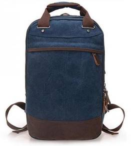 Retro Square Dual-Use Backpack Notebook Bag (Blue)