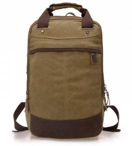 Retro Square Dual-Use Backpack Travel Bag (Khakis)