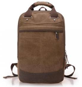 Retro Square Dual-Use Backpack Travel Bag (Coffee)