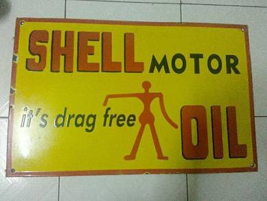 TExp Shell Enamel Sign Lama Vintage Old