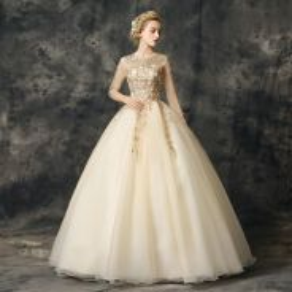 Gold Wedding Bridal Ball Prom Dress Gown RBMWD010