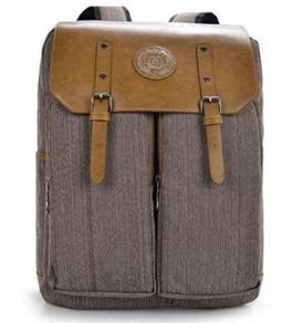Retro Box Shape Flip Multi-use Backpack Bag Brown