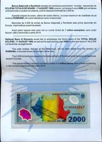 Romania 2000 lei 1999 unc polymer with folder