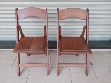Folding Chair Antik Kopitiam Kerusi jati cengal